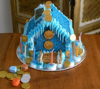 a ginger bread chanukah themed house