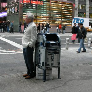 R2D2 star wars mailbox in Manhatten