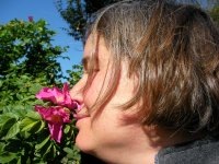 Me smelling a rosa rugosa